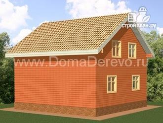 Фото 3: проект дом из бруса 8 на 8, с угловой террасой и балконом