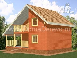 Фото 2: проект дом из бруса 8 на 8, с угловой террасой и балконом