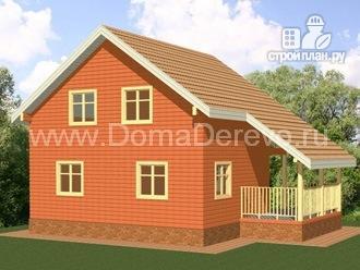 Фото 4: проект дом из бруса 8 на 8, с угловой террасой и балконом