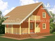 Фото: дом из бруса 8 на 8, с угловой террасой и балконом