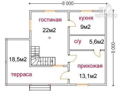 Фото 5: проект дом из бруса 8 на 8, с угловой террасой и балконом