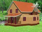 Фото: дом из бруса 10 на 12.5, с террасой