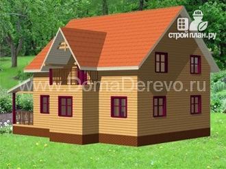 Фото 2: проект дом из бруса 10 на 12.5, с террасой