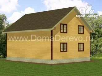 Фото 3: проект дом из бруса 8 на 10, с балконом и террасой