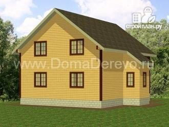 Фото 4: проект дом из бруса 8 на 10, с балконом и террасой