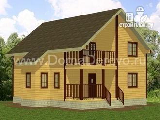 Фото: проект дом из бруса 8 на 10, с балконом и террасой
