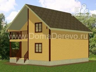 Фото 2: проект дом из бруса 8 на 10, с балконом и террасой