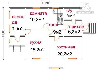 Фото 5: проект дом из бруса 8 на 11.5, с верандой и балконом