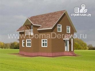 Фото 2: проект дом из бруса 8 на 11.5, с верандой и балконом