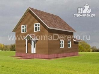 Фото 3: проект дом из бруса 8 на 11.5, с верандой и балконом