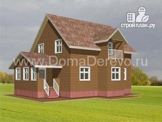 Фото: проект дом из бруса 8 на 11.5, с верандой и балконом