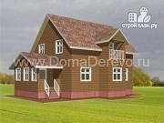 Проект дом из бруса 8 на 11.5, с верандой и балконом