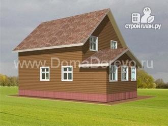 Фото 4: проект дом из бруса 8 на 11.5, с верандой и балконом