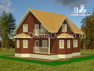 Фото: проект дом из бруса 10 на 10, с крыльцом и балконом