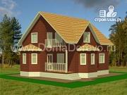Проект дом из бруса 10 на 10, с крыльцом и балконом