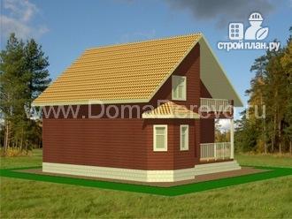 Фото 4: проект дом из бруса 10 на 10, с крыльцом и балконом
