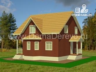 Фото 2: проект дом из бруса 10 на 10, с крыльцом и балконом