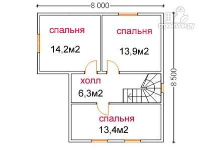 Фото 6: проект дом из бруса 8 на 8,5, с террасой