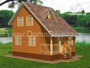 Фото: дом из бруса 6 на 8, с крыльцом