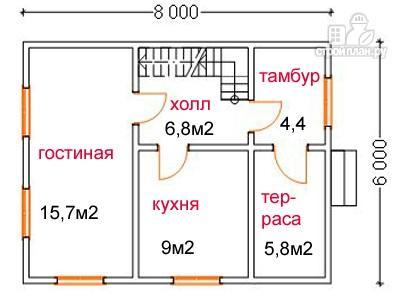 Фото 5: проект дом из бруса 6 на 8, с крыльцом