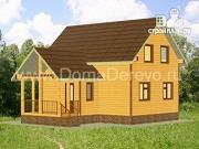 Фото: дом из бруса 6 на 9, с террасой