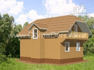 Фото 4: проект дом из бруса 9 на 7, с террасой и балконом