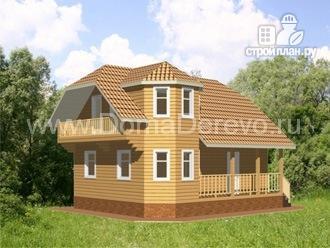 Фото: проект дом из бруса 9 на 7, с террасой и балконом