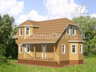 Фото 2: проект дом из бруса 9 на 7, с террасой и балконом