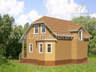 Фото 3: проект дом из бруса 9 на 7, с террасой и балконом