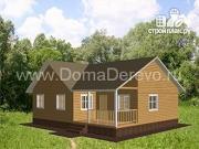 Проект одноэтажный дом из бруса 12 на 9, с террасой