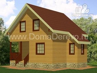 Фото: проект дом из бруса 7 на 7, с крыльцом
