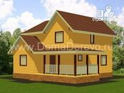 Проект дом из бруса 8 на 10, с террасой
