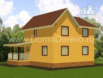 Фото 2: проект дом из бруса 8 на 10, с террасой