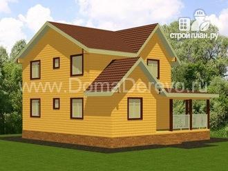 Фото 4: проект дом из бруса 8 на 10, с террасой