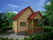 Фото: дачный дом 4х5 из бруса с мансардой и крыльцом