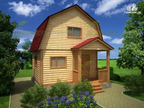 Фото: проект дачный дом 4х5 из бруса с крыльцом и ломаной крышей