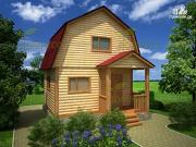 Проект дачный дом 4х5 из бруса с крыльцом и ломаной крышей