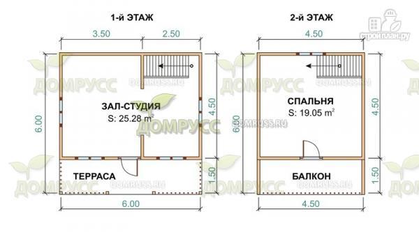 Фото 2: проект дом 6х6 из бруса с залом-студией, террасой и балконом