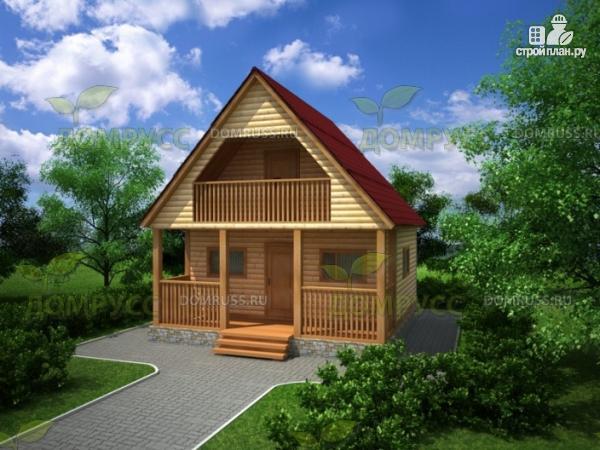 Фото: проект дом 6х6 из бруса с залом-студией, террасой и балконом