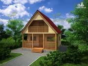 Проект дом 6х6 из бруса с залом-студией, террасой и балконом