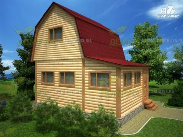 Фото: проект дом 5х6 из бруса с верандой