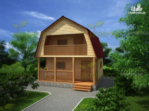 Фото: проект дачный дом 6х6 из бруса с балконом и террасой