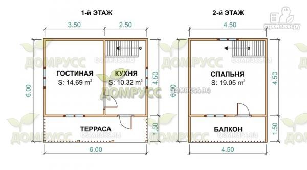 Фото 2: проект дачный дом 6х6 из бруса с балконом и террасой