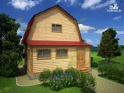 Проект дачный дом 6х6 из бруса с верандой