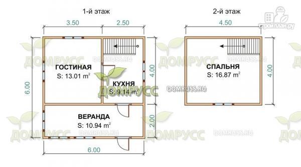 Фото 2: проект дачный дом 6х6 из бруса с верандой