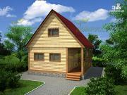 Проект дачный дом из бруса 6х6 с террасой