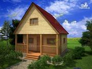 Фото: дачный дом из бруса 6х6 с террасой
