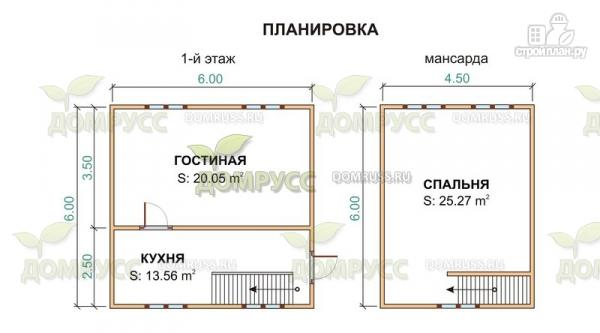 Фото 2: проект дом из бруса пятистенок 6х6