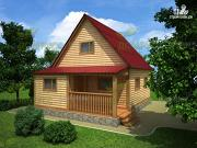 Фото: дачный дом 6х8 из бруса с крыльцом
