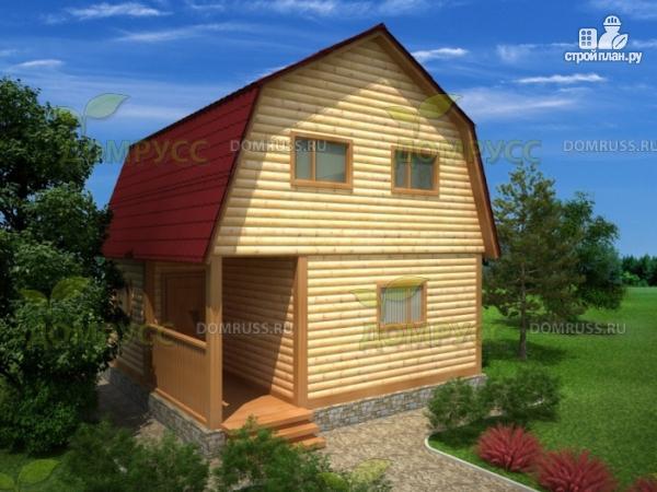 Фото: проект дом 6х6 из бруса с крыльцом и ломаной крышей